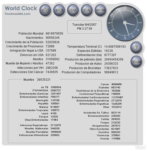 World Clock: Reloj mundial en tiempo real de lo que pasa en el mundo