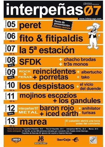 Programa de fiestas para interpeñas en las fiestas del pilar 2007
