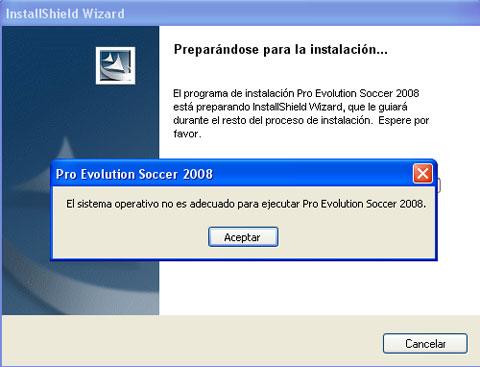 Error en PES 8: El sistema operativo no es adecuado para ejecutar Pro Evolution Soccer 2008