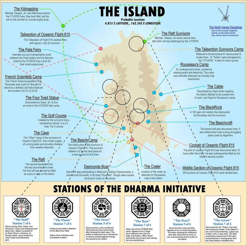El mapa de la isla de Perdidos (Lost)
