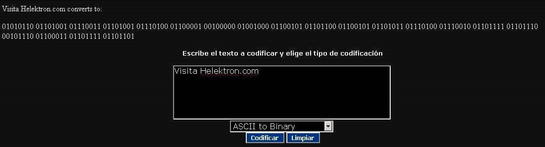 Traductor de ASCII a Binario, Hexadecimal, base64, MD5 y otras codificaciones