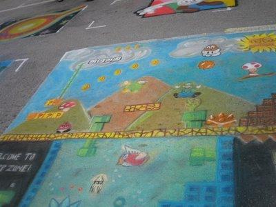 Dibujos artísticos de Mario en las calles