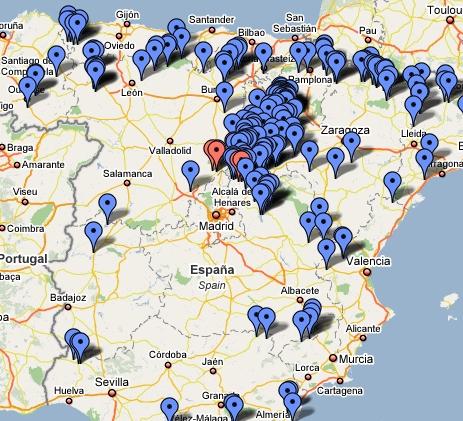 Mapa de los pueblos abandonados en España