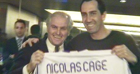 Nicholas Cage en el palco del Bernabéu