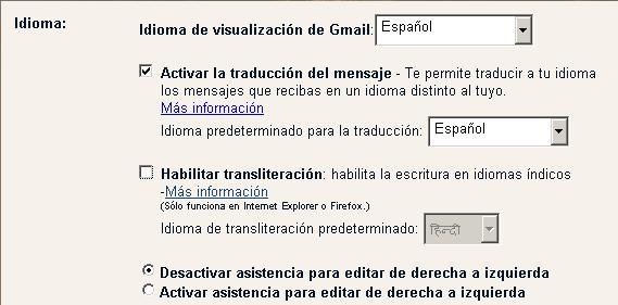 Activar la traducción automática de los correos en GMail