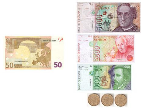 euro pesetas