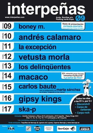 Cartel de los conciertos de Interpeñas 2009 en Las Fiestas Del Pilar 2009