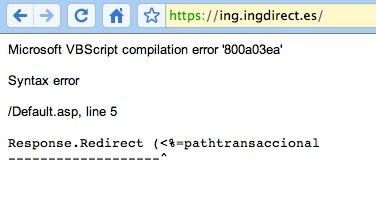 Error en la página de Ing Direct