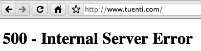 Tuenti.com 500 - Internal Server Error
