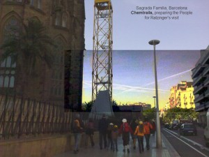 Chemtrails en la Sagrada Familia de Barcelona
