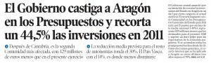 El Gobierno recorta un 44,5% las inversiones en Aragón en 2011