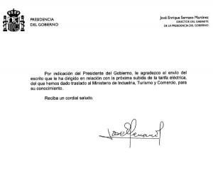 Carta de la Presidencia del Gobierno en contestación a la denuncia por el aumento de la luz