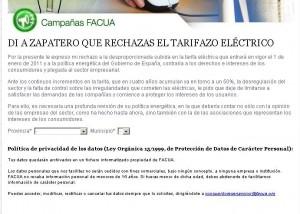 Enviar carta de rechazo al tarifazo eléctrico