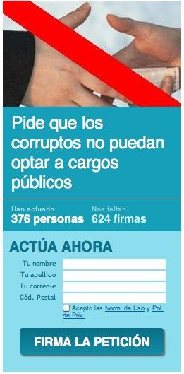 Pide que los corruptos no puedan optar a cargos públicos