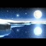 fondo escritorio navidad de noche con luna llena