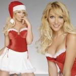 fondo escritorio navidad con chicas vestidas de papa noel