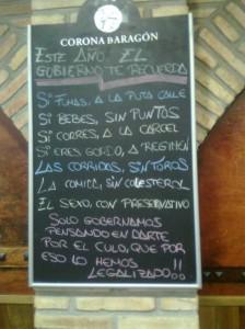 Cartel en un restaurante de Zaragoza