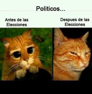 Los políticos antes y después de las elecciones
