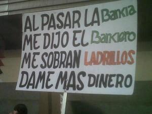 Pancartas contra los banqueros