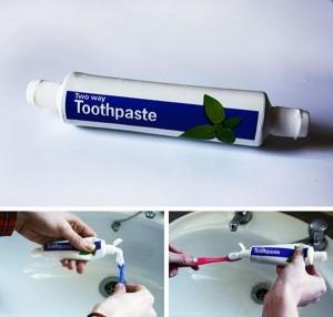 Dos caras de pasta de dientes