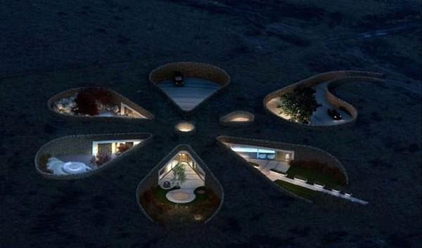 Eco Casa de última tecnología en la noche de cerca