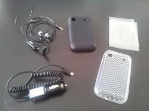 samsung Galaxy S Plus que incluye: 2 carcasas, cargador de batería para el coche, auriculares y 3 protectores de pantalla