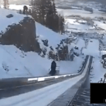 Jurij Tepes y su salto de esquí a 208,5 metros de altura